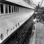 The Titanic moored at Southampton docks on 10 April 10, 1912. The second class passenger gangway can be seen 150 yards away.