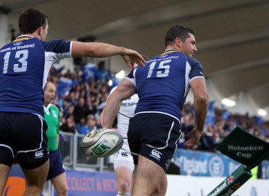 Rob Kearney is congratulated after scoring a try against Glasgow at Firhill.