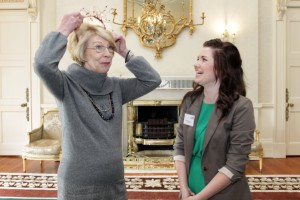First Lady Sabina Higgins is presented with a hat made by 16-year-old Caoimhe Dowling (right) from Presentation Secondary School in Listowel, Co. Kerry. A group of Young Entrepreneurs from the county were at ras an achtarin today.