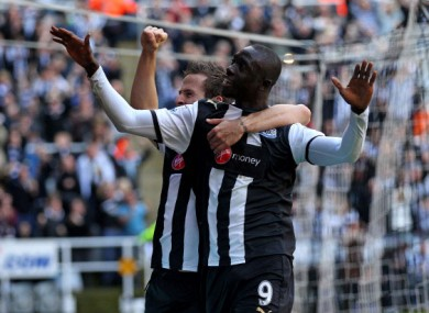 Cisse and Cabaye celebrate a goal against Liverpool last weekend.