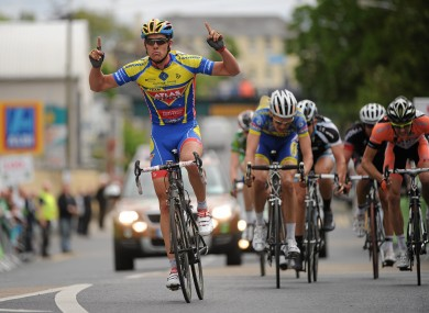 Pirmin Lang celebrates after winning today's second stage of the An Post Rás.