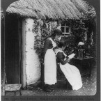 Reading the post outside a family home in Co Monaghan, 1903. (Library of Congress, Prints & Photographs Division)