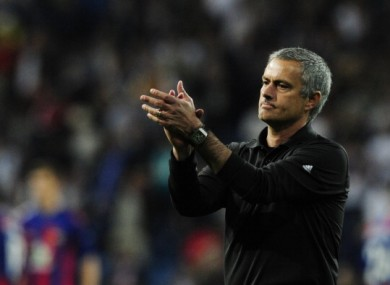 Mourinho applauds the Real Madrid fans.