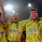 Norwich beat Bayern Munich in 1993. They also wore these insults to fashion. Jeremy Goss earns forgiveness however as he scored some cracking goals that season. (Ross Kinnaird/EMPICS Sport)