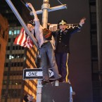 Citizens of New York City gather at Ground Zero to celebrate the death of Osama Bin Laden. (PA)