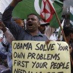 People rally to condemn the killing of Osama bin Laden, in Karachi, Pakistan on Tuesday, May 3, 2011. (AP Photo/Shakil Adil)