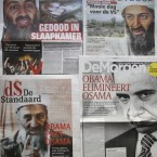 A composite of Belgian front pages shows Osama Bin Laden and Barack Obama on Tuesday, May 3, 2011. Headlines read clockwise from bottom left, 'Obama nabs Osama', 'Killed in his bedroom', 'Bin Laden is dead, a beautiful day for the United States', and Obama eliminates Osama'. (AP Photo/Virginia Mayo)