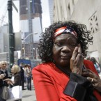 A woman weeps at ground zero in New York, Monday, May 2, 2011.  (AP Photo/Kathy Willens)