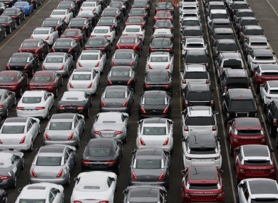 New cars await shipping in Southampton, England
