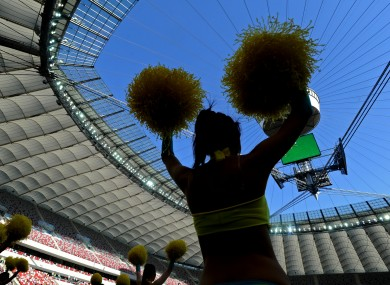 Cheerleaders at the National Stadium in Warsaw.