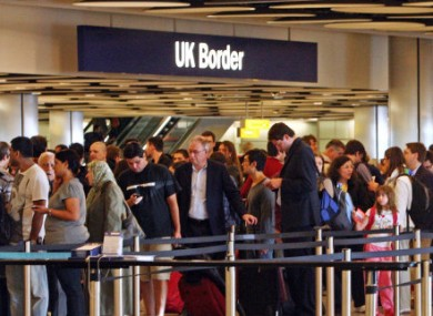 File photo of queues at border control in Heathrow Airport.