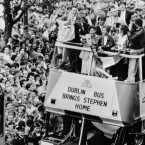 1987: Tour de France winner Stephen Roche is given a hero's welcome in Dublin as he travels in an open-top bus along a packed O'Connell Street. An estimated 250,000 people lined the street 20 deep to watch the 27-year old Dubliner, who conquered the world's top bikers, be driven in triumph through his native city.