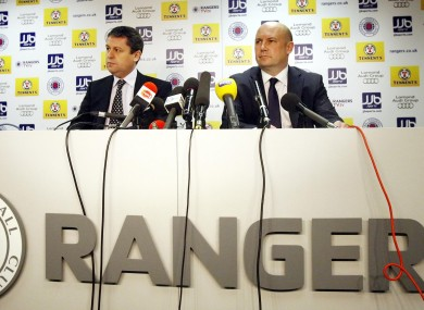 Administrators David Whitehouse (left) and Paul Clark (right) during today's press conference at Ibrox.