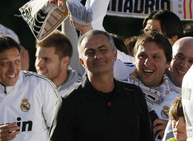 Jose Mourinho celebrates winning La Liga with Real Madrid this year.