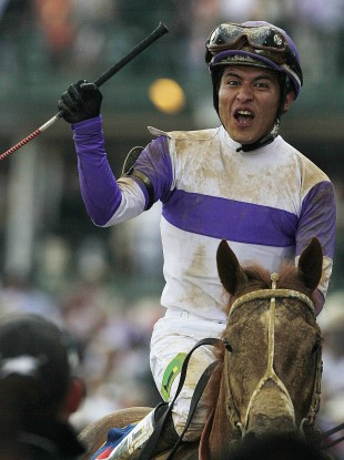 Jockey Mario Gutierrez celebrates his victory.
