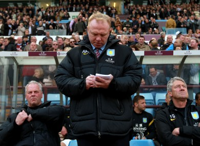 Alex McLeish: one season in charge at Villa Park.