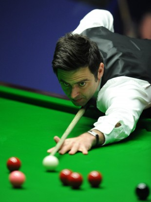 Ronnie O'Sullivan at the table during the final of the World Snooker Championships at the Crucible Theatre.