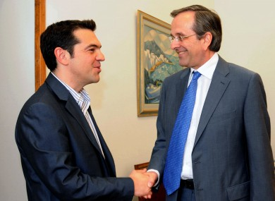 Alexis Tsipras (left)'s Syriza remains popular, but Antonis Samaras's New Democracy remains in front in the latest polls.
