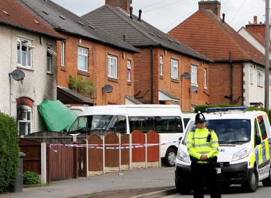 The scene in Allenton, Derby where five children died in a house fire. 