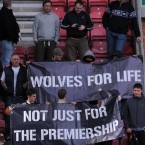 Wolverhampton Wanderers' fans show their support during the Barclays Premier League match at the DW Stadium, Wigan - Jon Buckle/PA Wire/Press Association Images