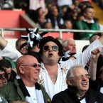 Swansea City fan dressed as Elvis during the Barclays Premier League match at the Liberty Stadium, Swansea - David Davies/PA Wire/Press Association Images