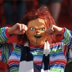A Bolton fan in a mask during the Barclays Premier League match at the Britannia Stadium, Stoke On Trent - Dave Howarth/PA Wire/Press Association Images