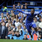 Chelsea's Daniel Sturridge, left, reacts after a challenge from Blackburn Rovers' Jason Lowe during their English Premier League soccer match at the Stamford Bridge Stadium, London, Sunday, May 13, 2012 - AP Photo/Tom Hevezi