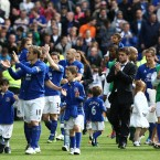 Everton players applaud the fans during the lap of honour after the final whistle - PA Wire/PA Wire/Press Association Images