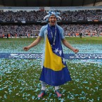 Edin Dzeko celebrates winning the title.
