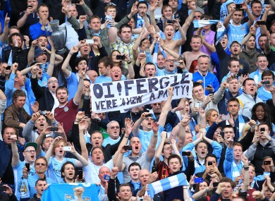 Man City fans taunt their neighbour Alex FErguson