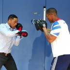 Pad work with Anthony Joshua, GB Super Heavyweight boxer.