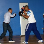 Will Smith learning some moves with Team GB boxer Anthony Joshua.