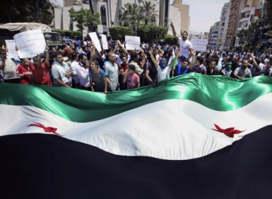 Anti-Syrian regime protesters today in Beirut, Lebanon.