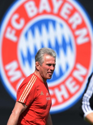 Bayern Munich manager Jupp Heynckes during training earlier today.