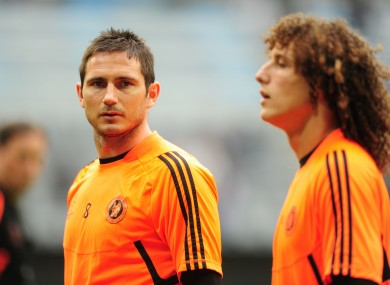 Chelsea's Frank Lampard and David Luiz during training.