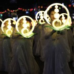 Buddhists carry lanterns in a parade during the Lotus Lantern Festival to celebrate the upcoming birthday of Buddha on May 28, on a street in Seoul, South Korea. (AP Photo/Ahn Young-joon)