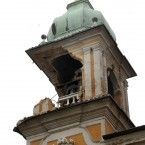 The damaged bell tower of the Ferrara's city hall building, Italy, Sunday, May 20, 2012. (AP Photo/Marco Vasini)