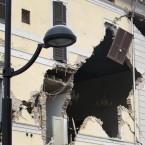 The damaged town hall building in St' Agostino, Italy, Sunday, May 20, 2012. (AP Photo/Luca Bruno)