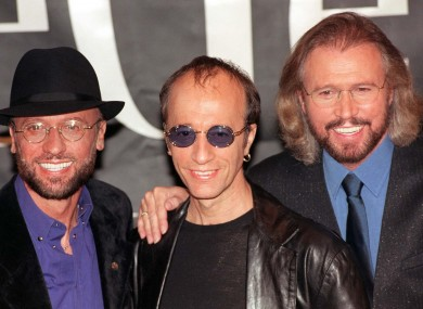 Robin Gibb (centre) with brothers Maurice (left) and Barry (right)
