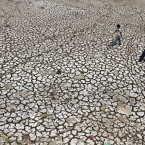 Indian boys walk on a parched portion of the River Sabarmati in Ahmadabad. Huge swathes of rural farmland has turned dry as farmers await the annual monsoon rains which, according to the India Meteorological Department, are expected to reach on time this year. (AP Photo/Ajit Solanki)