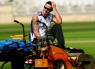 England's Kevin Pietersen during a nets session at Trent Bridge yesterday.