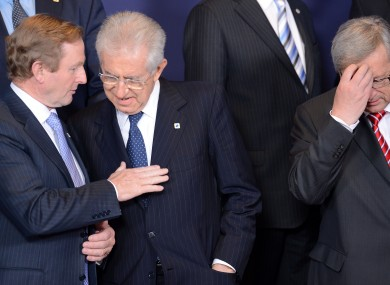 Taoiseach Enda Kenny with Italy's Prime Minister Mario Monti and Luxembourg's PM Jean-Claude Juncker last night