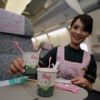 The cute aircraft is an innovative collaboration of Eva Airlines, Taiwan's second-largest carrier, and Sanrio, Japan's comic company that owns the Hello Kitty brand. (Photo by ChinaFotoPress/PA)