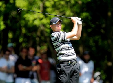 England's James Morrison on the 18th hole on day two of the BMW PGA Championship at Wentworth today.