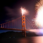 Fireworks burst over the Golden Gate Bridge as part of the span's 75th anniversary celebration last Sunday. (AP Photo/Noah Berger)