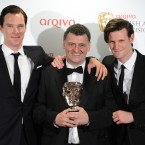 Benedict Cumberbatch, Steven Moffat and Matt Smith at the BAFTA Television Awards 2012
