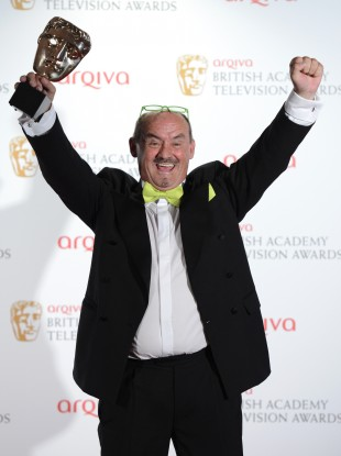 Brendan O'Carroll celebrating last night