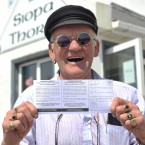 King of Tory, artist and Musician, Patsy Dan Mac Ruari votes in the Fiscal Treaty referendum at the Pooling Station based in the St Colm Cillie National School on Tory Island. (Photo: Artur Widak/PA Wire)