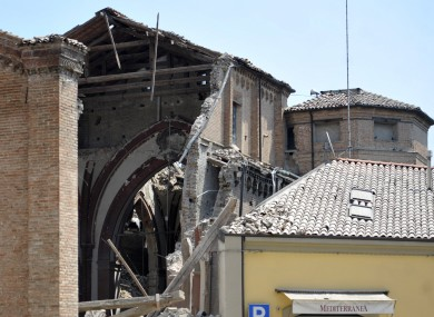 A collapsed church is seen in Mirandola, northern Italy today following an earthquake
