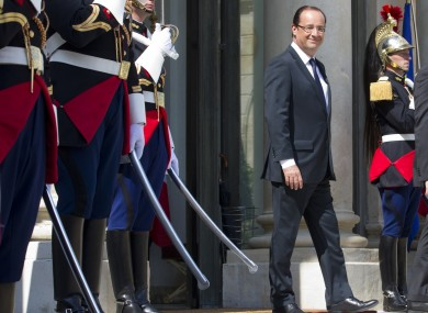 French President Francois Hollande at the Elysee Palace in Paris yesterday